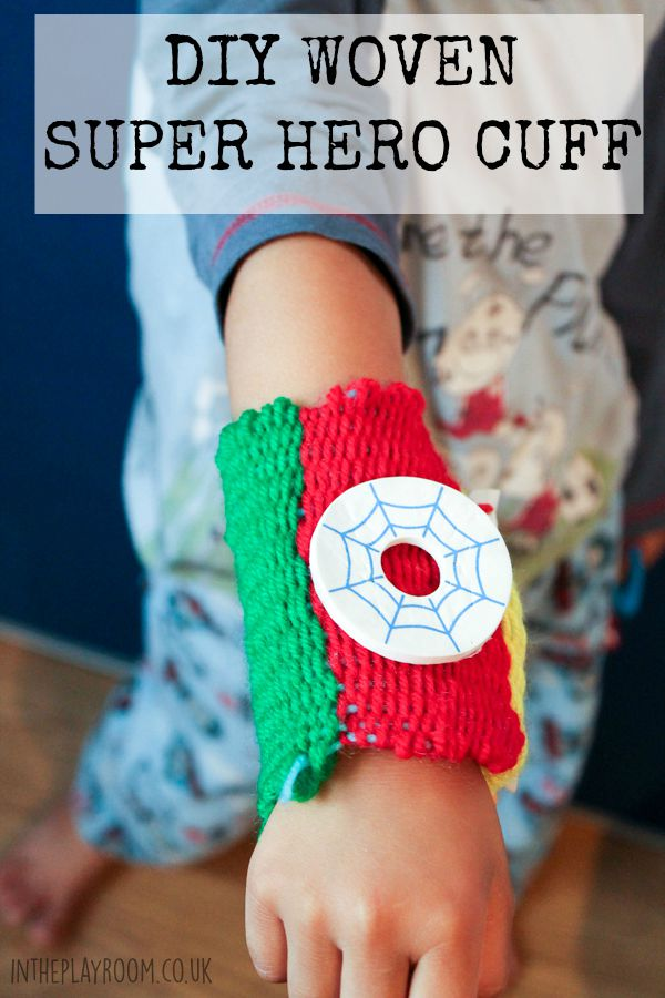 DIY woven super hero cuff made with a kids weaving loom