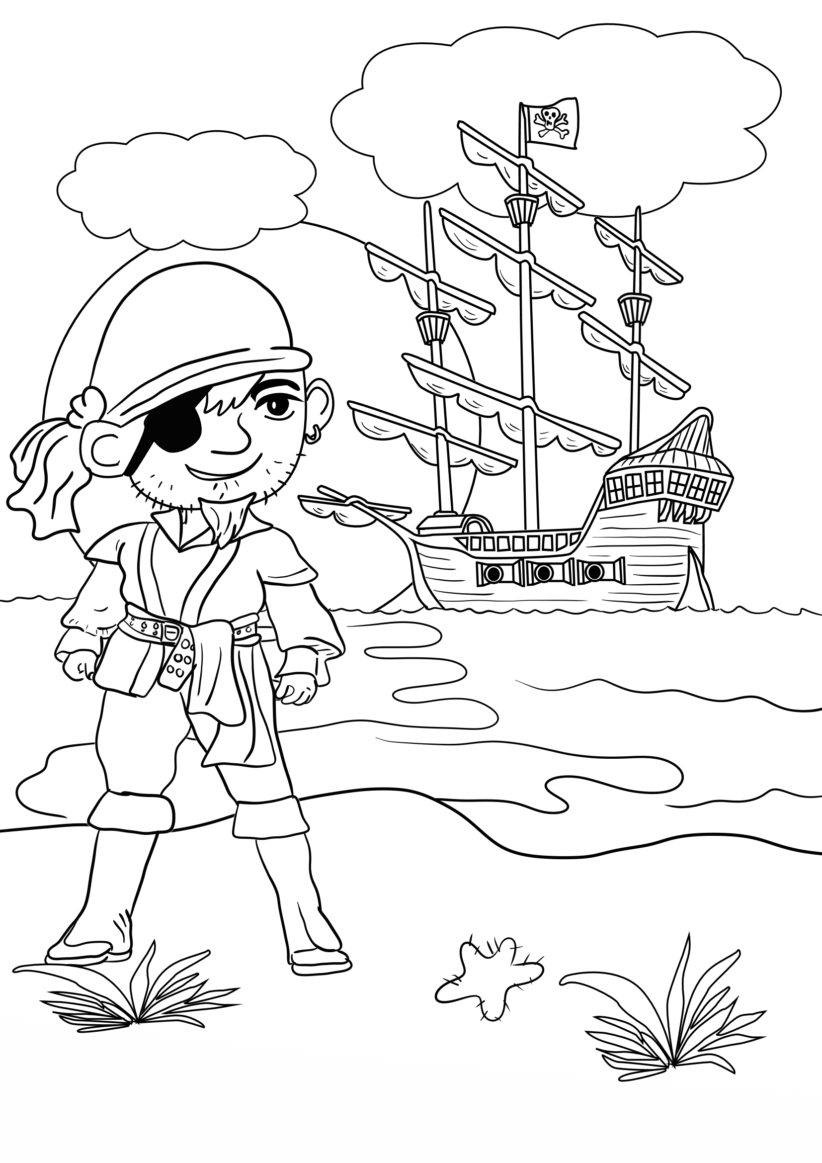 pirate colouring pages for in the playroom