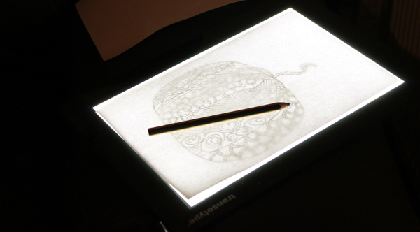 Transotype drawing light table pumpkin zentangle