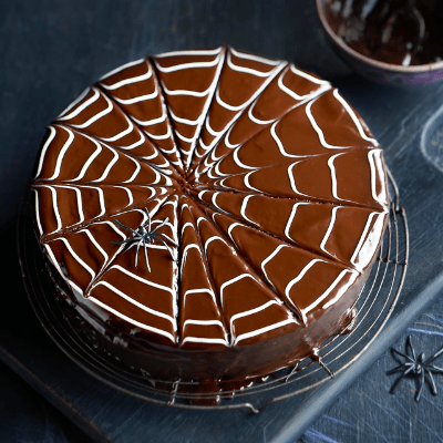 Chocolate Halloween Spider Web Cake In The Playroom