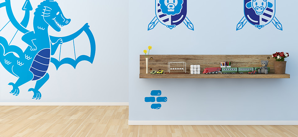 Free printable wall stickers for kids rooms, in a knight and dragon theme