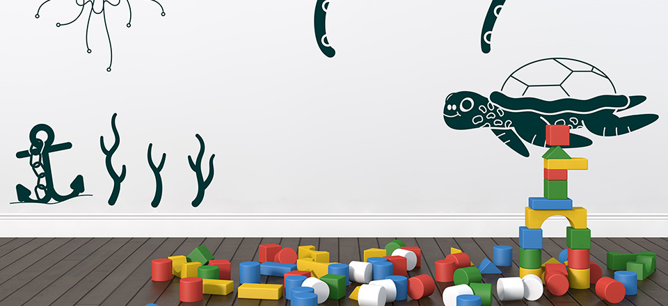 Free printable wall stickers for kids rooms, in an under the sea theme