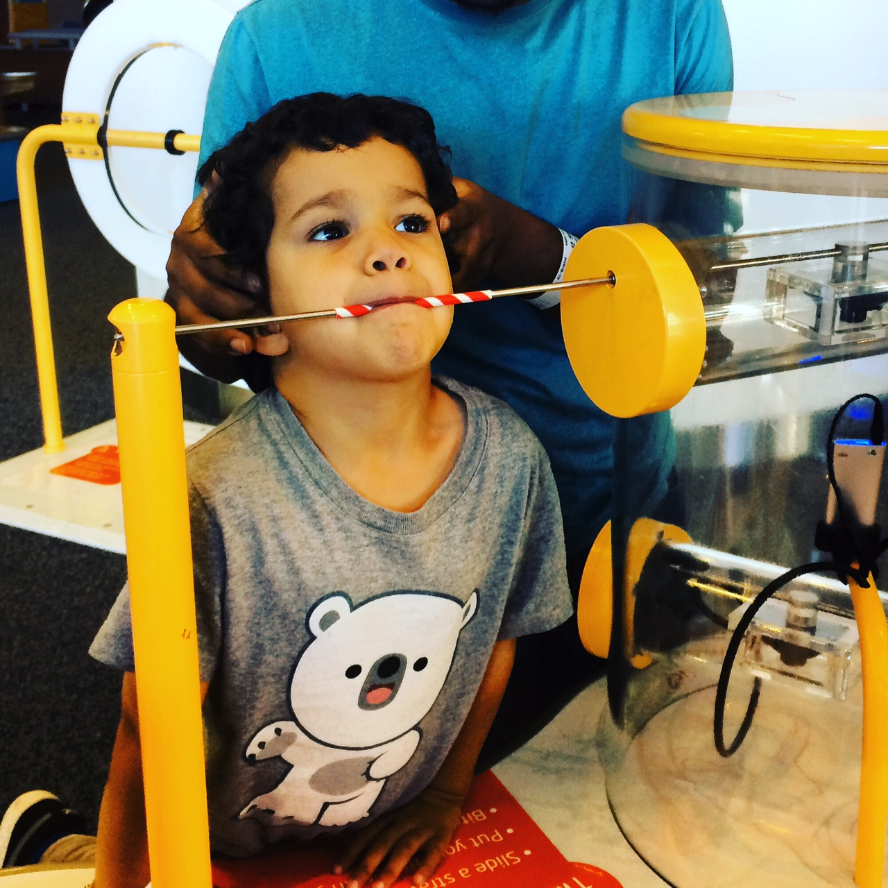 conducting sound through teeth in at brisol science museum
