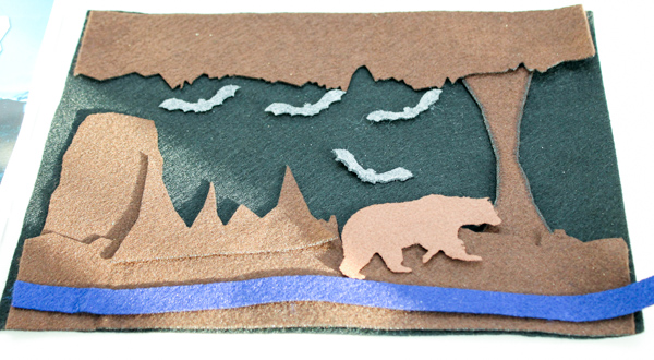cave felt scene from montessori by mom