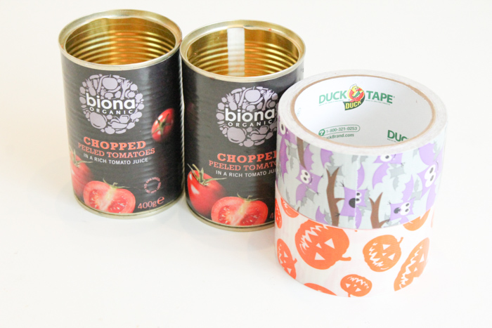 supplies for upcycled halloween pencil pots