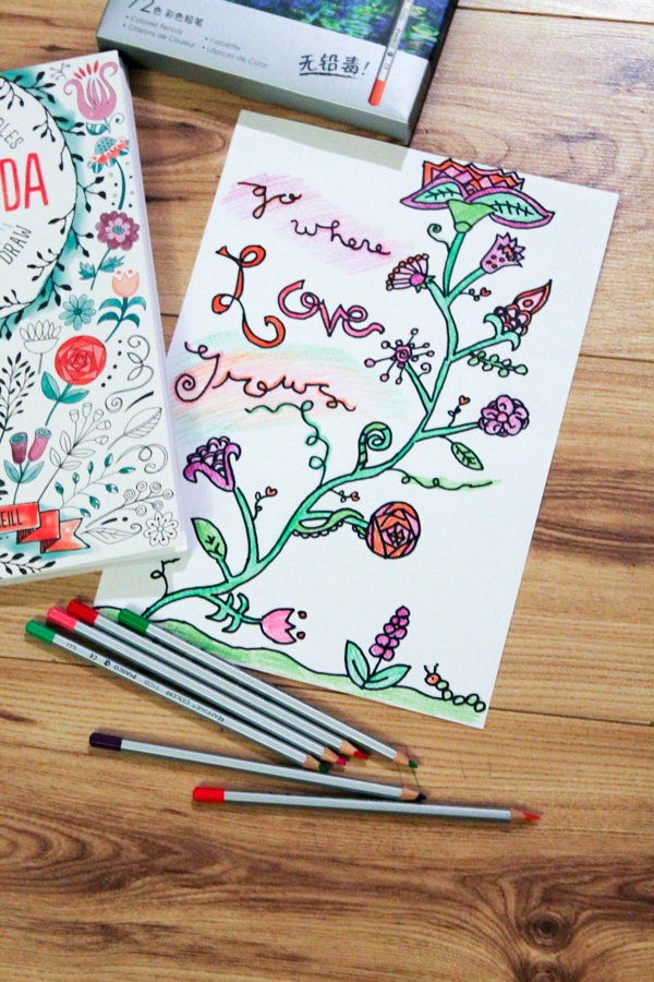 Go where love grows. Floral colouring page for grown ups