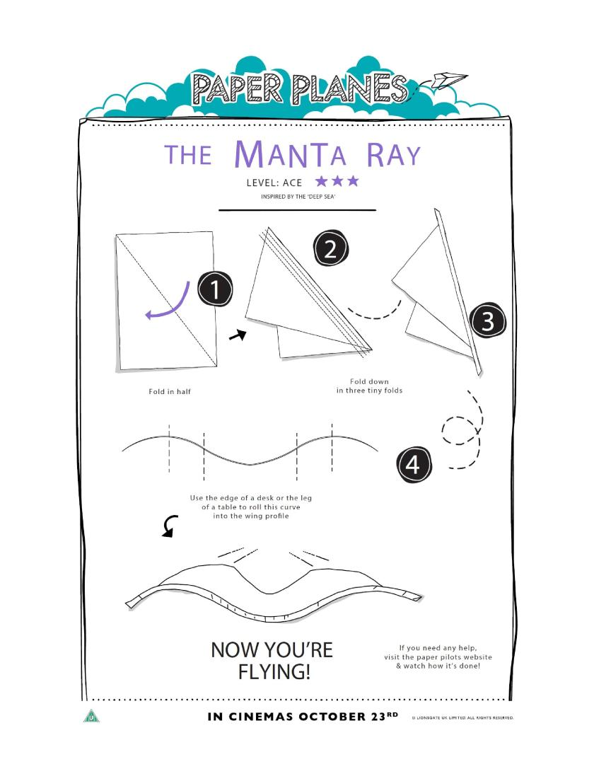 The Manta Ray paper plane origami, inspired by the deep sea. Printable instructions
