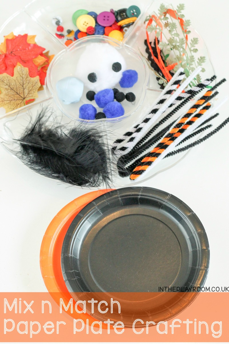 Mix n match paper plate crafting with loose parts. This is in a Halloween Autumn theme but you can adapt this simple idea for any holiday, season or theme