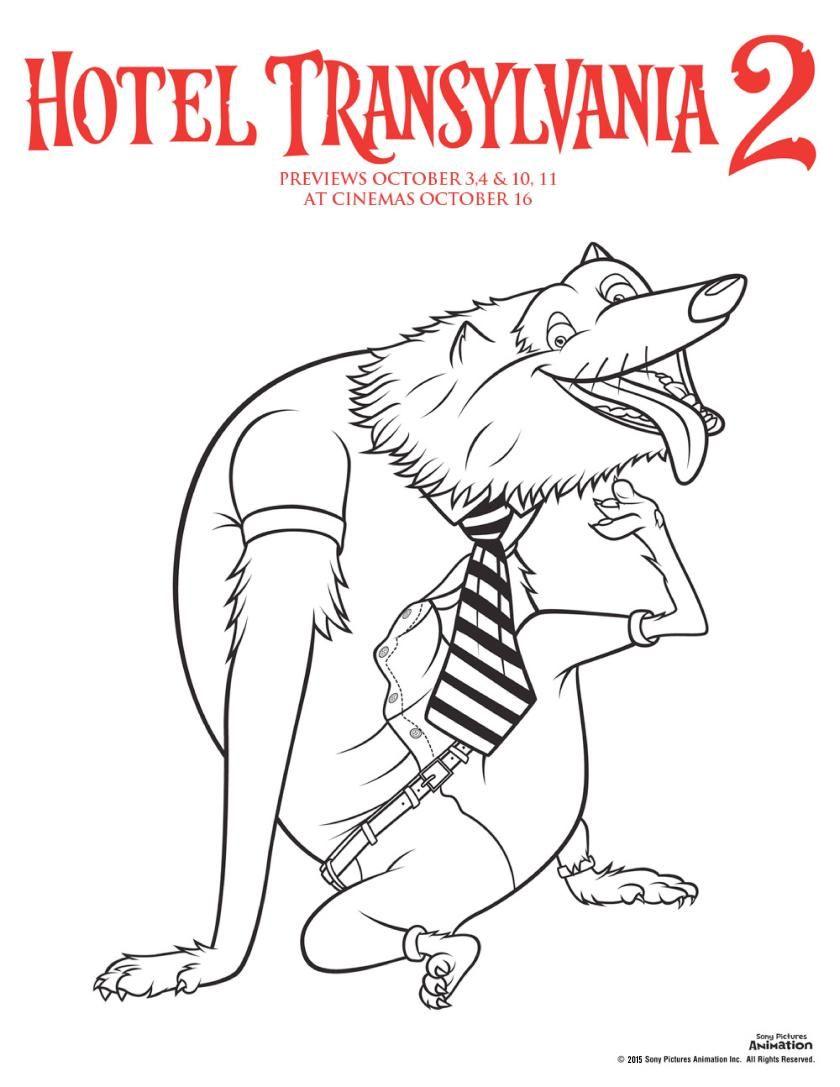 Hotel transylvania 2 colouring pages wayne the werewolf colouring sheet, perfect for Halloween