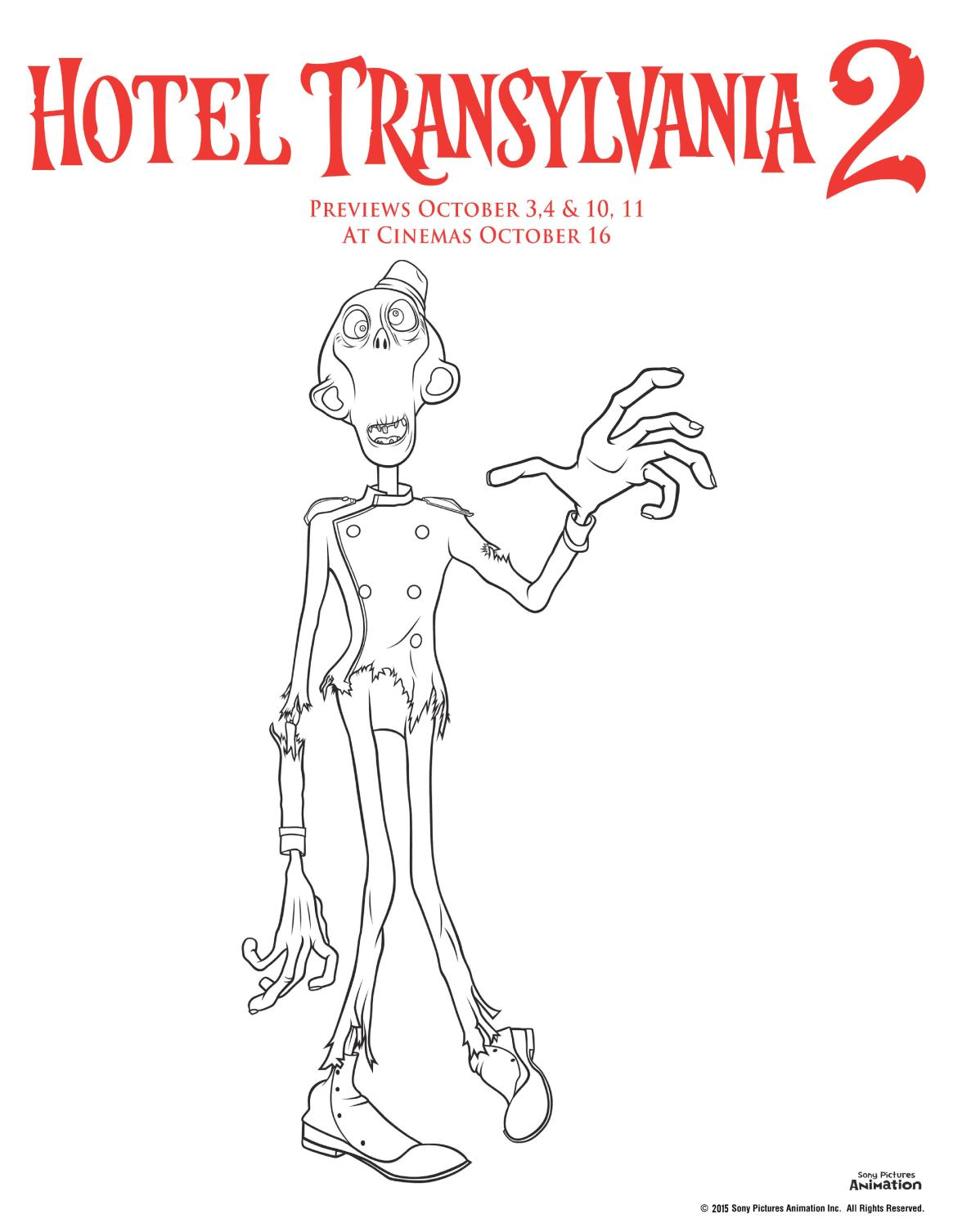 Hotel transylvania 2 colouring pages zombie colouring sheet, perfect for Halloween