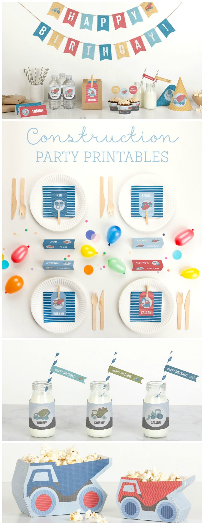 Free printable decorations for a construction party for kids birthdays