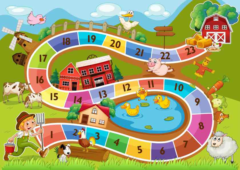 Colourful counting board game for kids