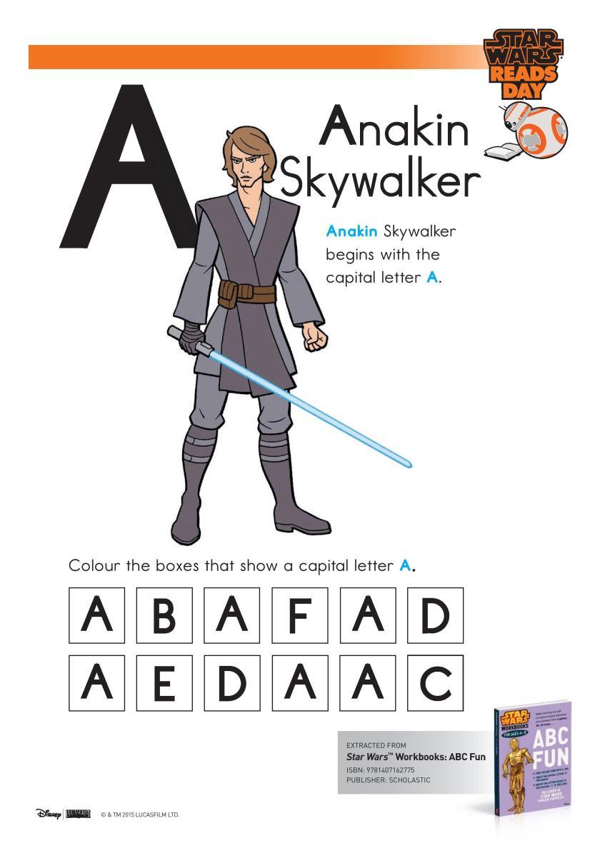 Star Wars Letter A Worksheet printable