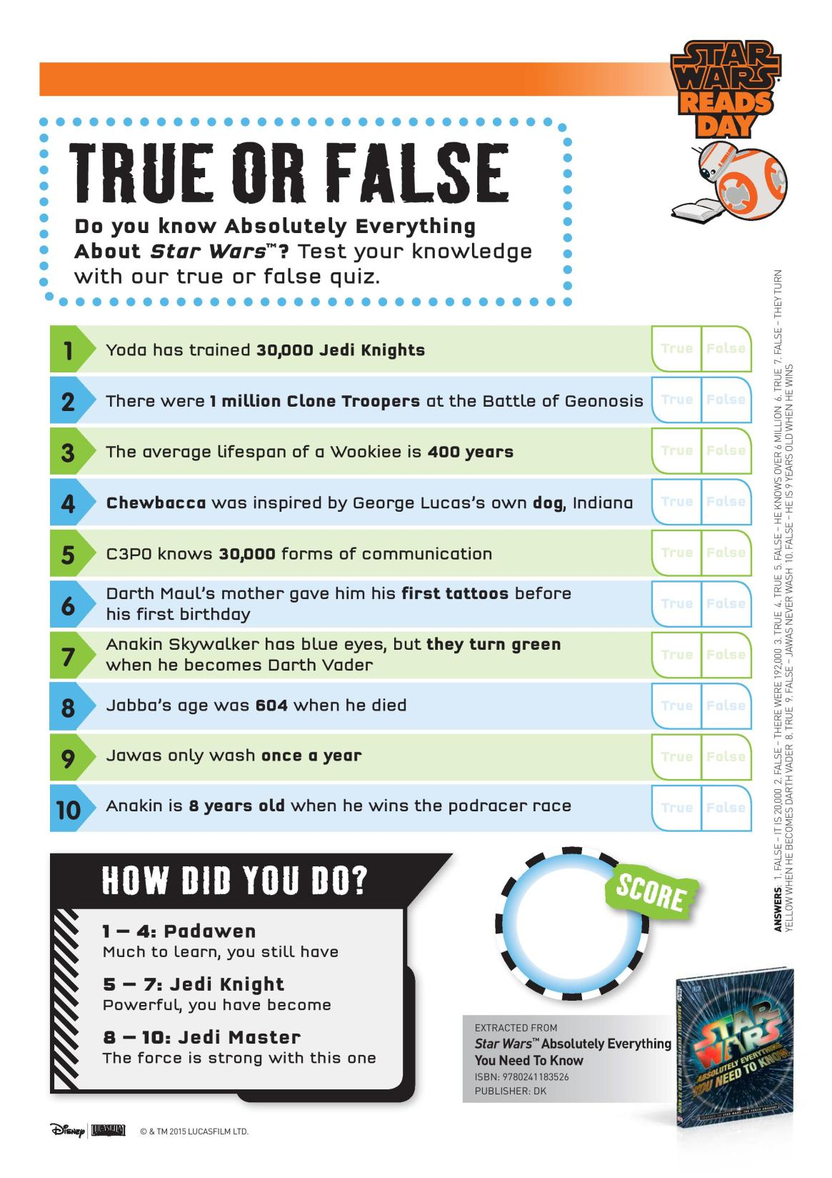Star Wars True or False Quiz