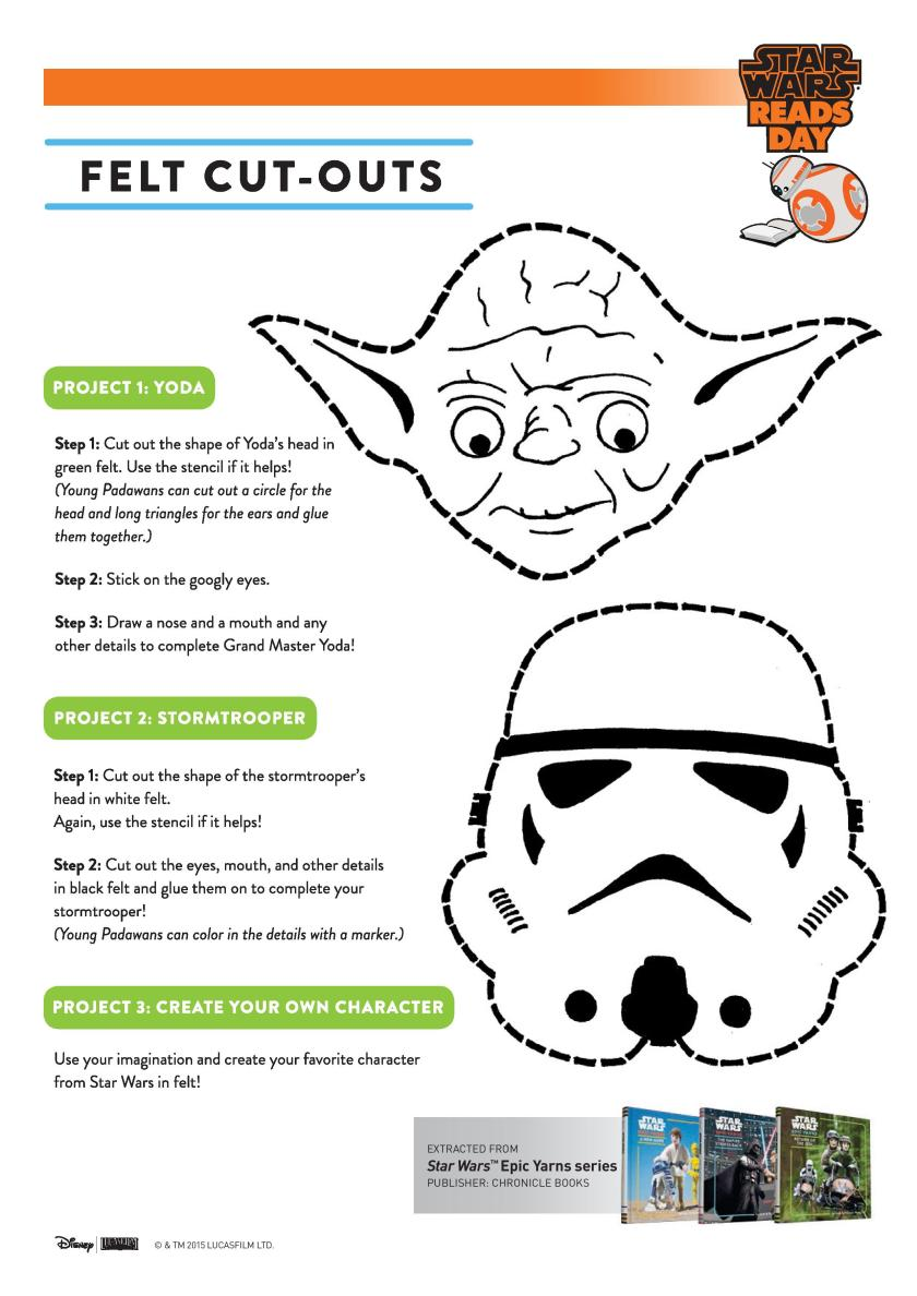 Star Wars character cut outs craft printable templates with Yoda and a storm trooper