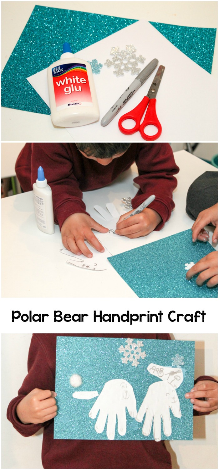 Polar bear handprint winter craft idea for kids.
