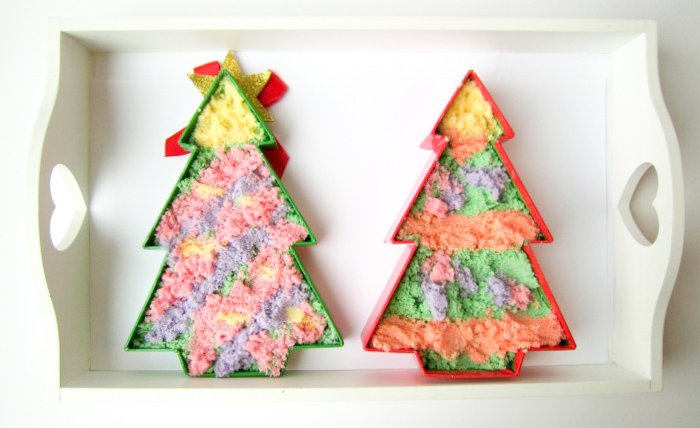 Coloured Salt Christmas Trees