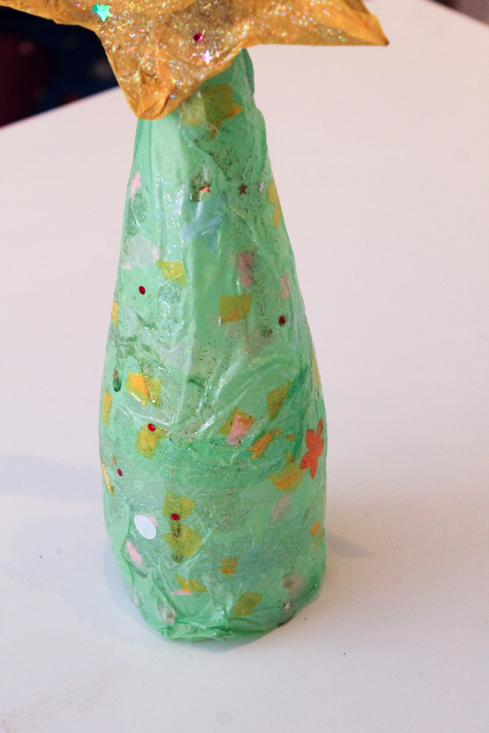 glass bottle modge podge Christmas tree craft to make with kids