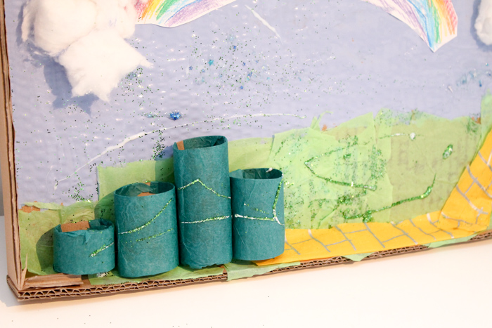 wizard of oz cardboard scene with the emerald city