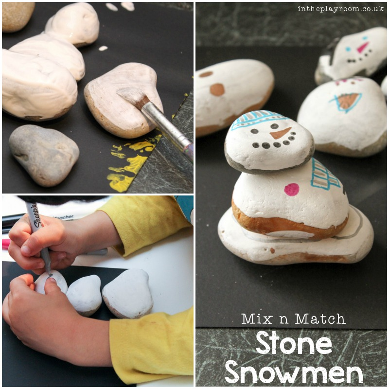 making stone snowmen winter craft for kids