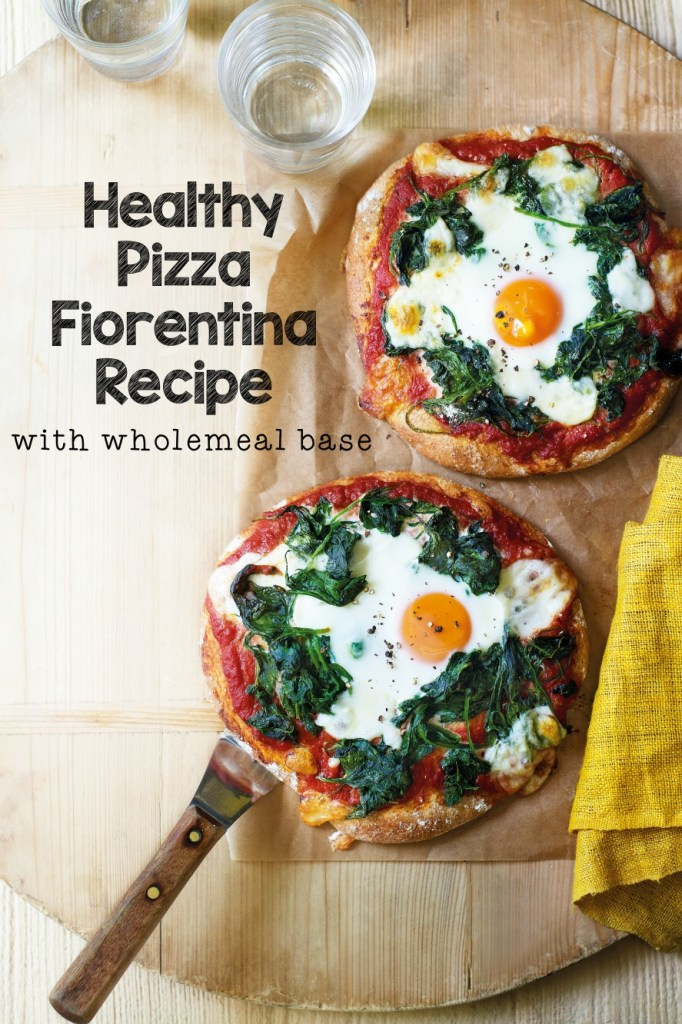 Healthy Pizza recipe with wholemeal base. This is pizza fiorentina with an egg on top, to give you an energy boost