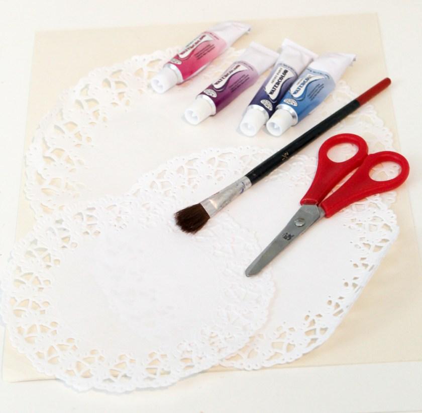 Watercolour & Doily Valentine Craft