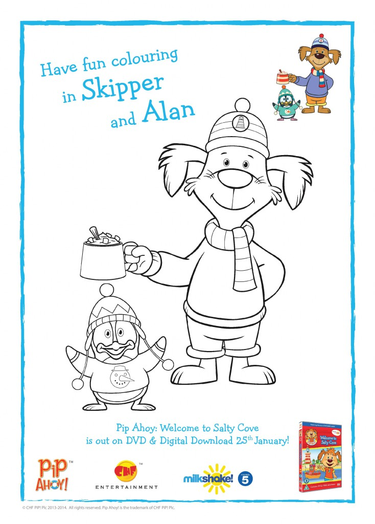 Skipper and Alan Winter colouring page