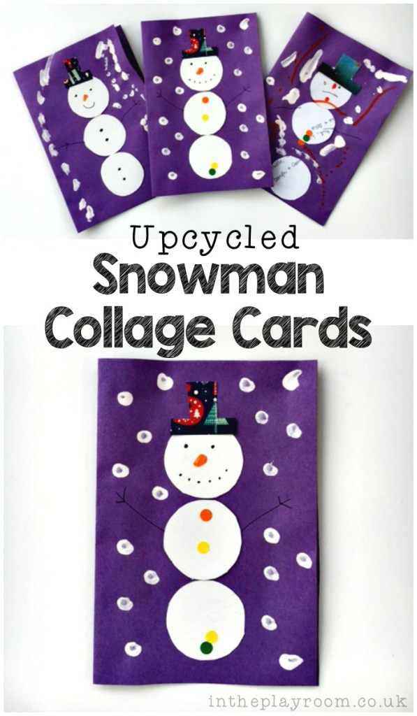 Upcycled snowman collage cards, to turn old Christmas cards into thank you cards
