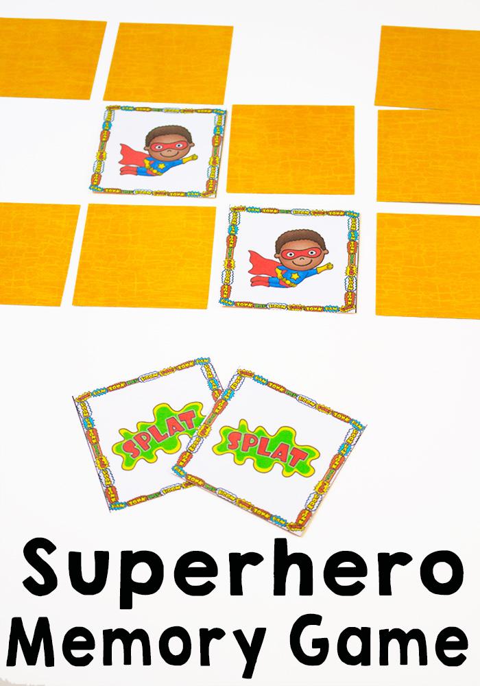 free printable superhero memory game