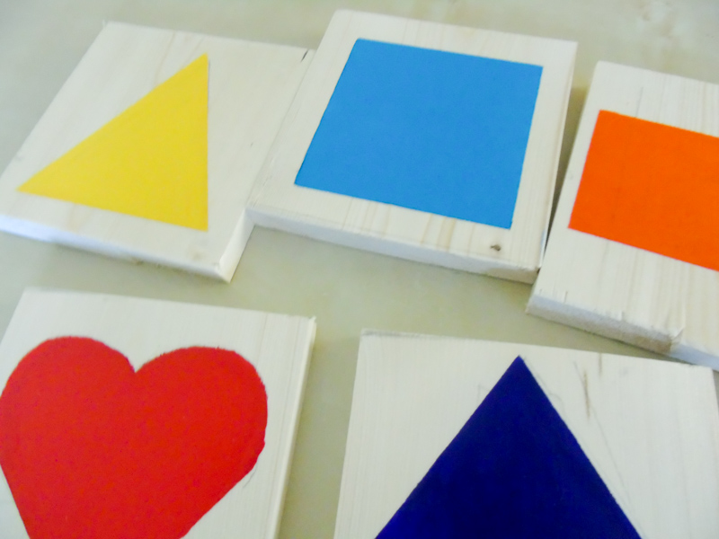 painting shapes onto wood