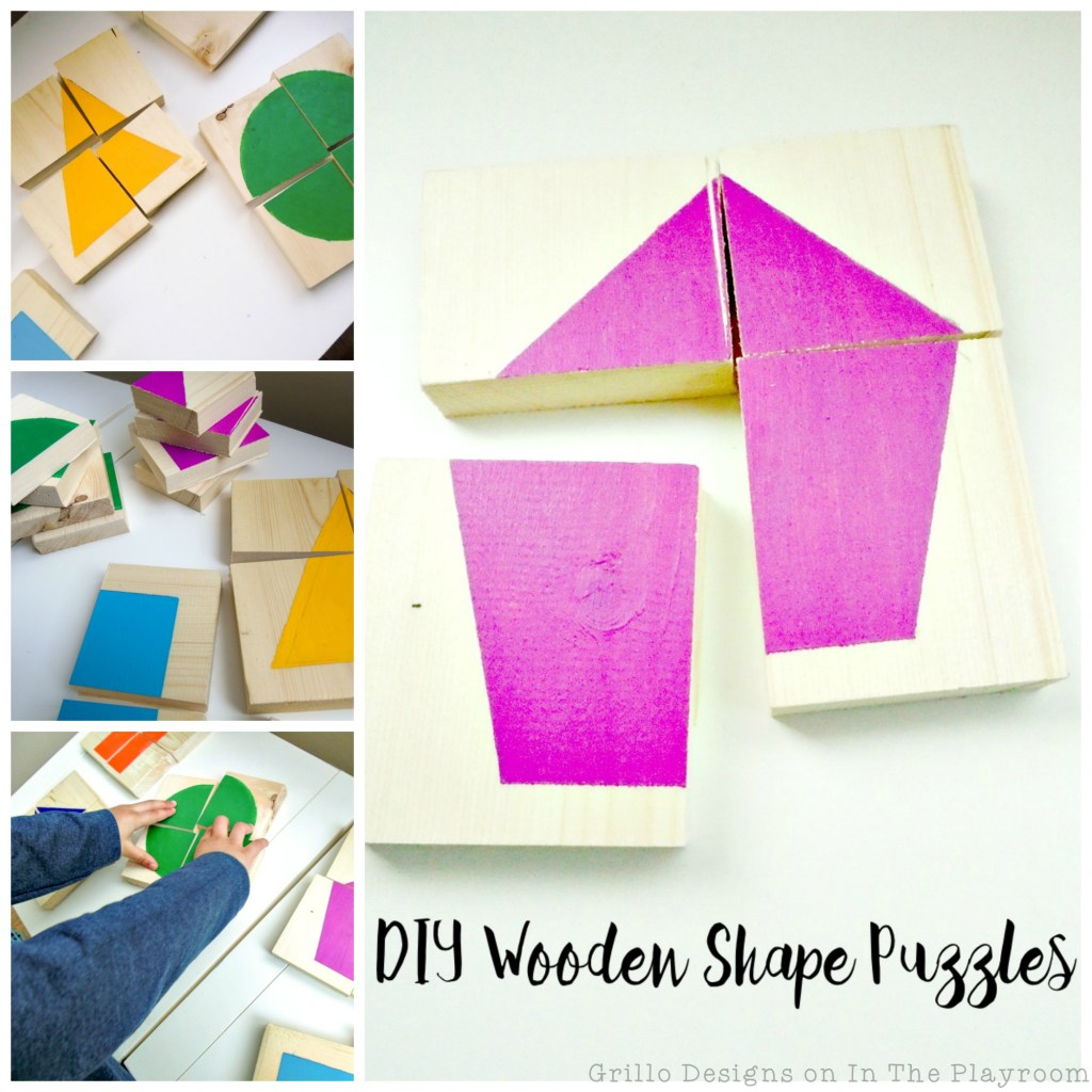 How to make these cute and fun DIY Wooden shape puzzles for kids.