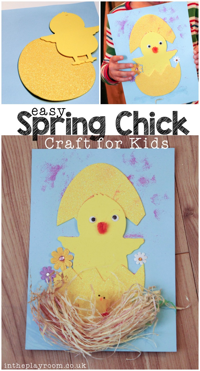 cute easy spring chick craft for kids, from toddlers and up. decorate a little chick popping up out of an egg