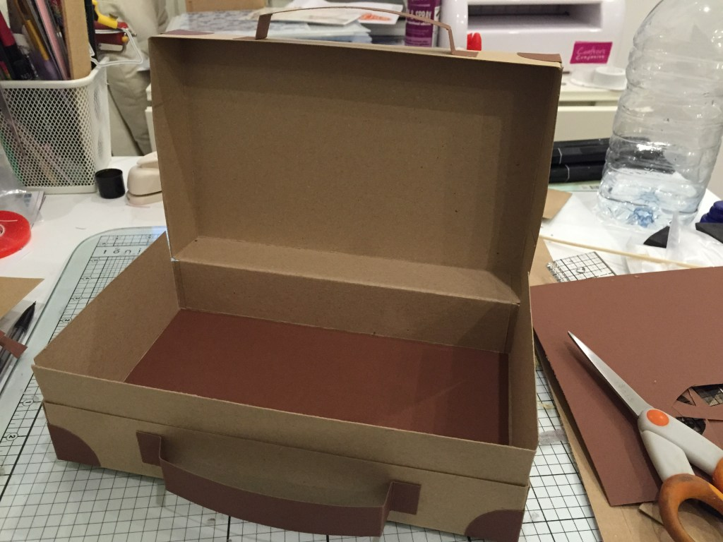 making a cardboard suitcase for craft