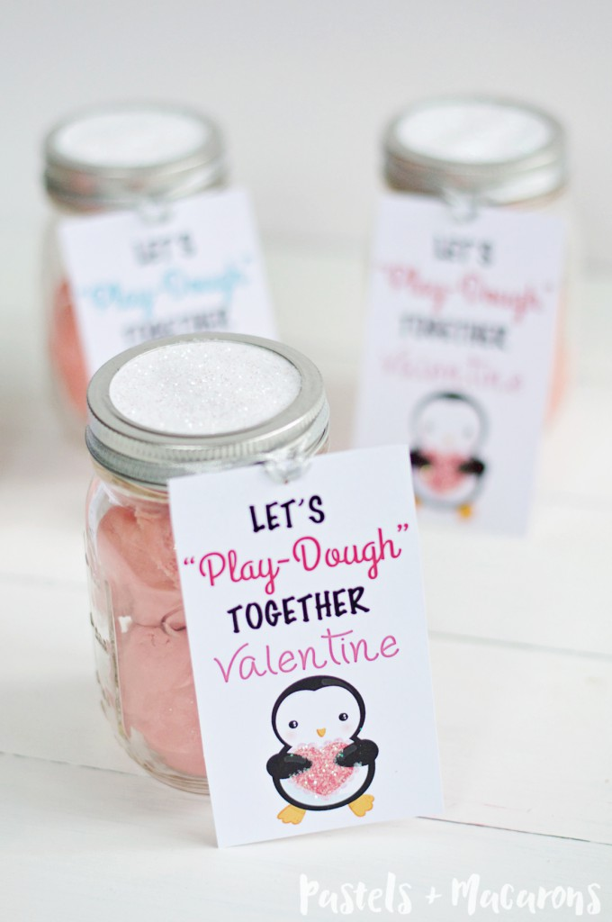 """Let's Play-dough together Valentine"" Super cute Playdough mason jar valentines gift idea for kids"