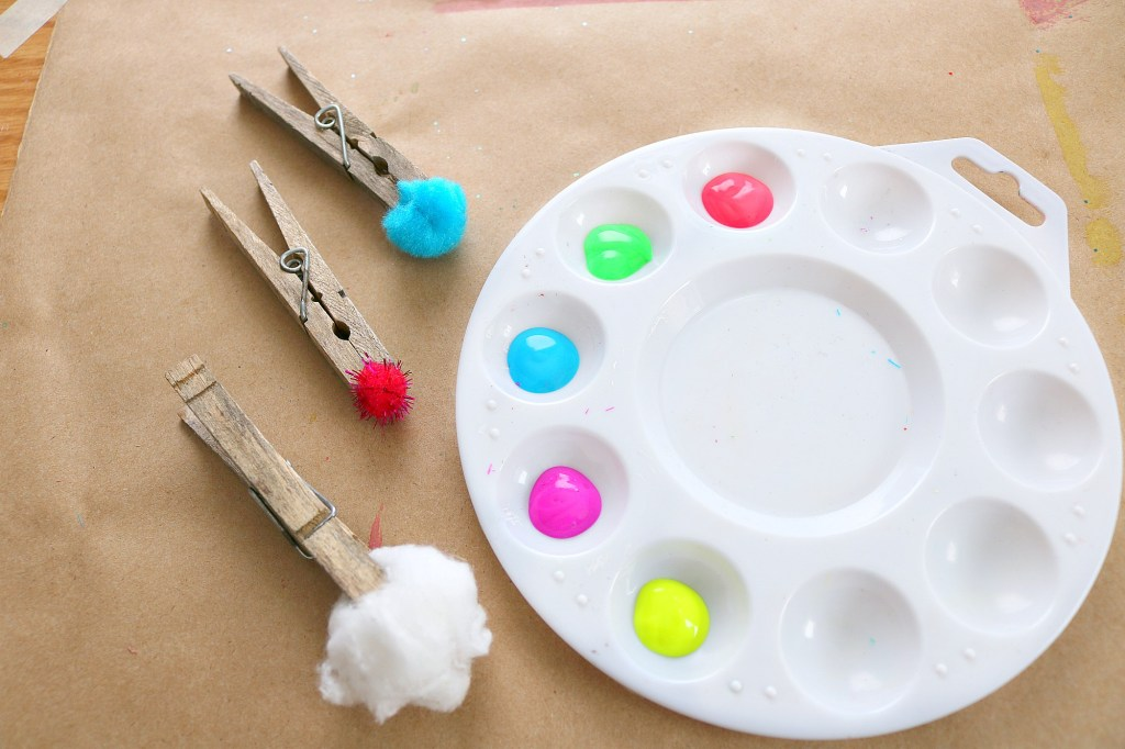 pom pom painting fine motor activity