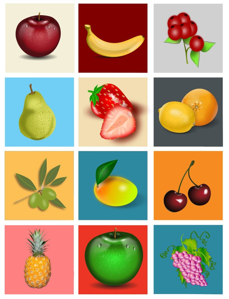 fruit square pictures to use for sorting games
