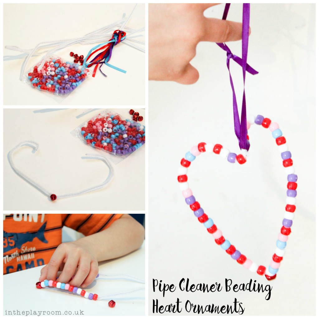 pipe cleaner bead threading hearts craft for Valentines day