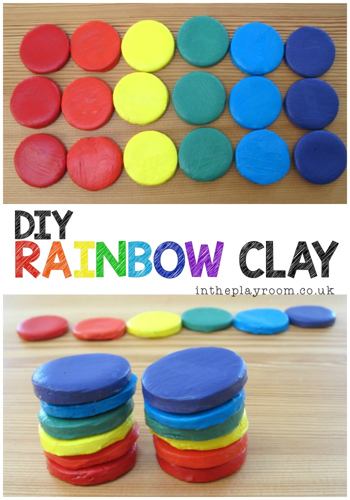 2 ingredient clay recipe, to make these gorgeous rainbow clay stackers that can be kept and used over and over again