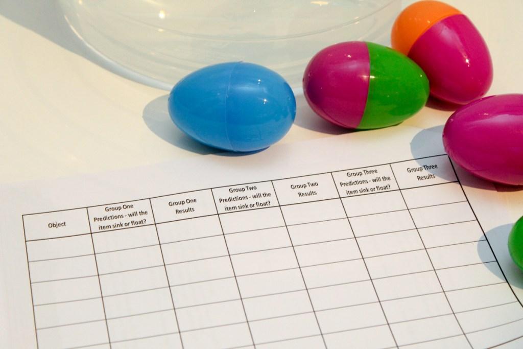 surprise egg sink or float experiment