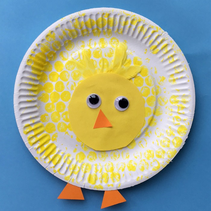 paper plate and bubble wrap spring chick kids craft