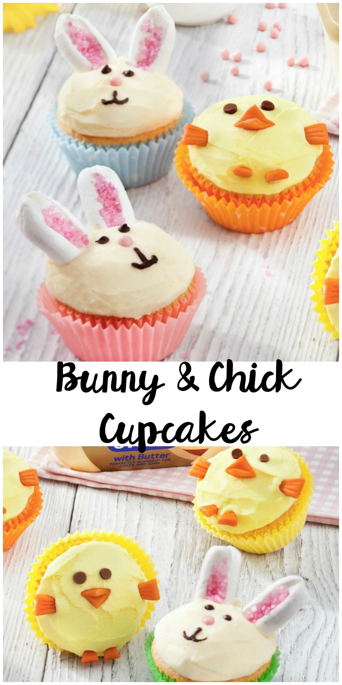 cute little bunny and chick cupcakes for easter baking with the kids