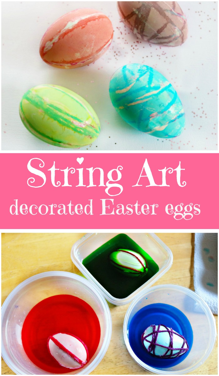 how to make string art decorated easter eggs - pretty cool idea!