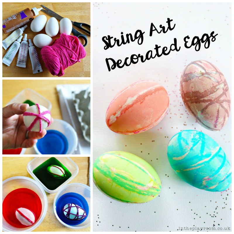 string art decorated easter eggs