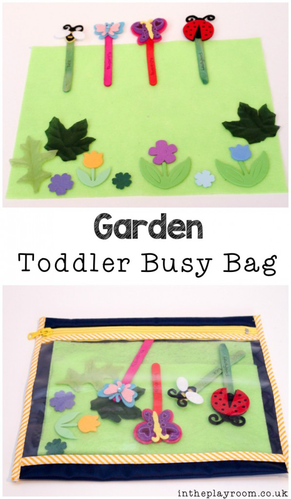 garden themed busy bag for toddlers or preschoolers, with simple puppets and a felt play scene