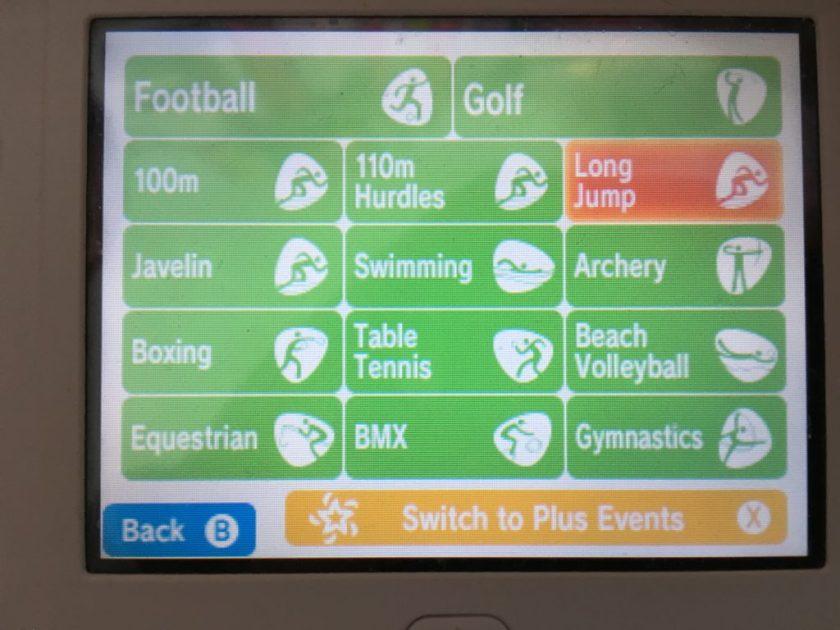 Game selection screen