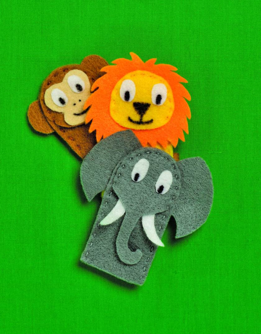zoo animal felt finger puppets sewing craft