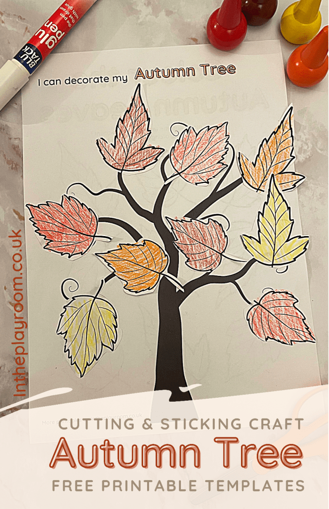 autumn fall cutting and sticking craft with free printable templates