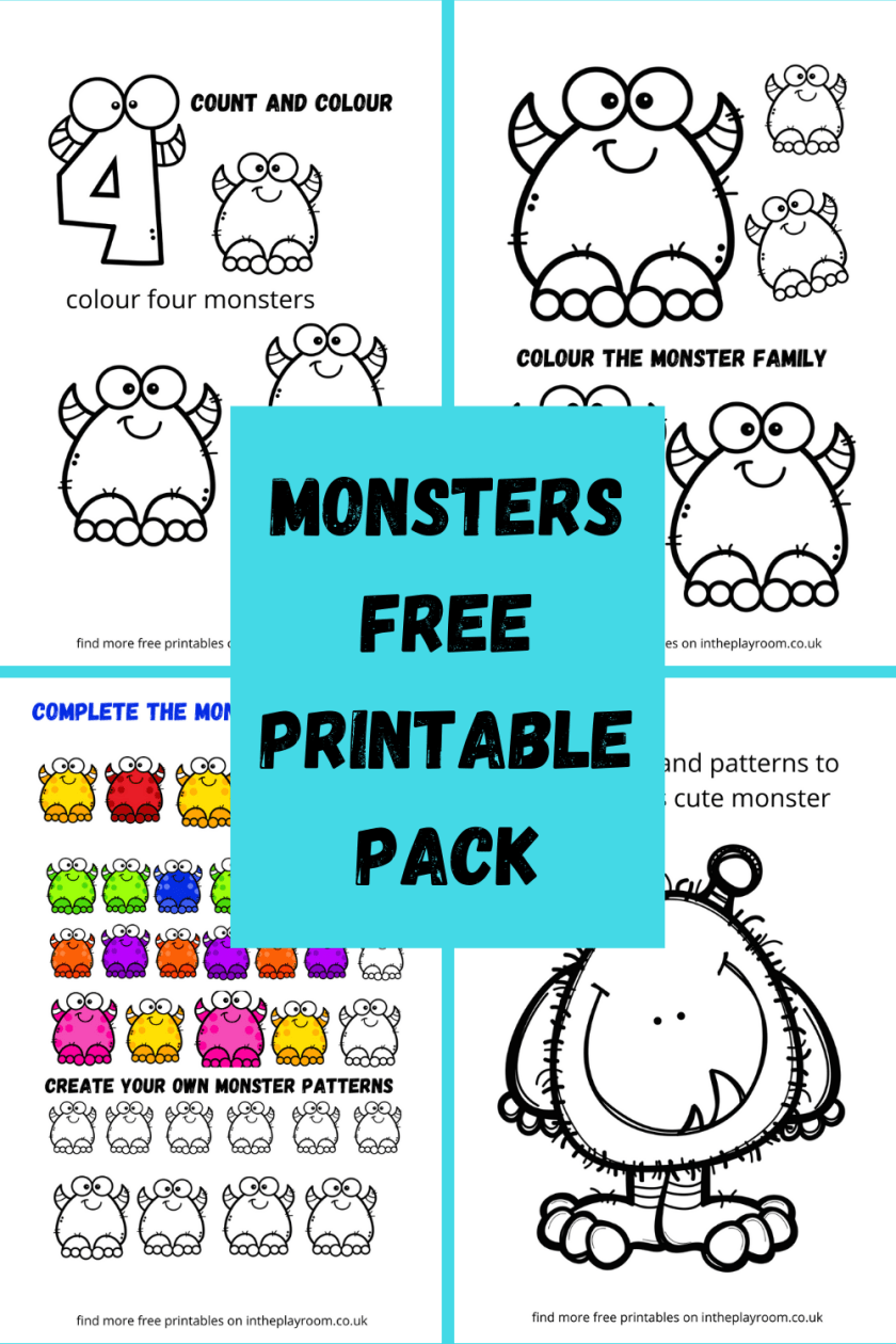 Free Printable Monsters Coloring pages and activity sheets in a 13 page pack pdf