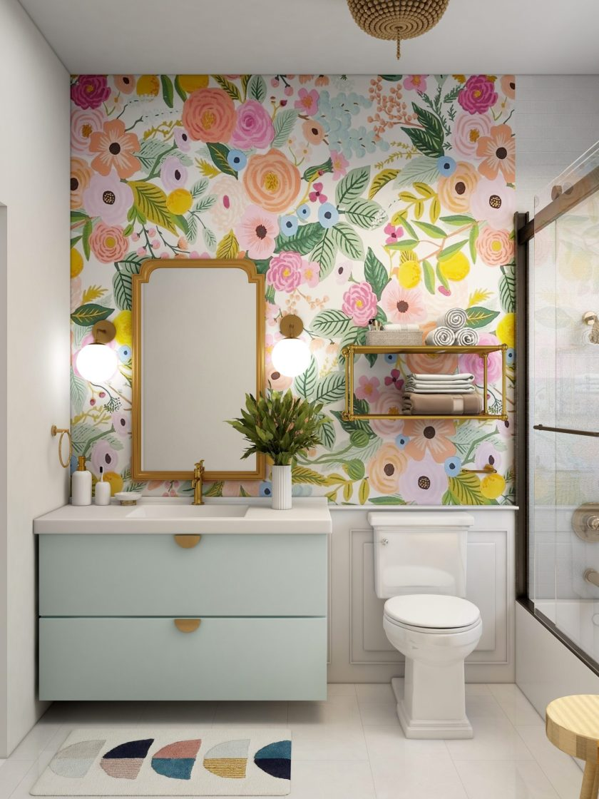 colourful bathroom with floral wallpaper