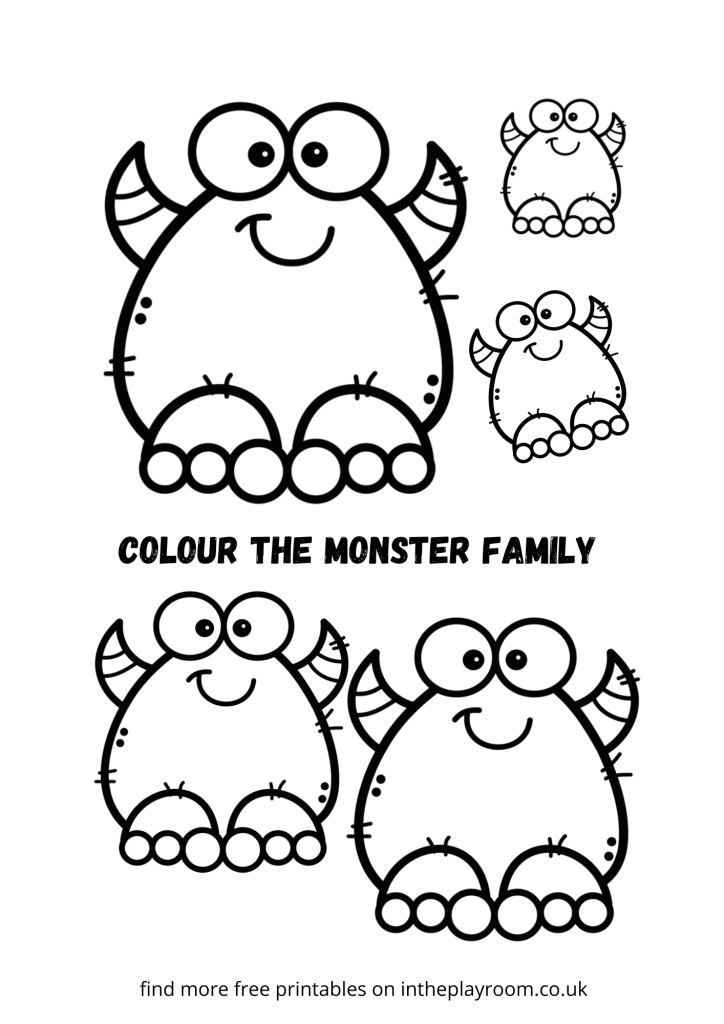 monster coloring color the monster family page